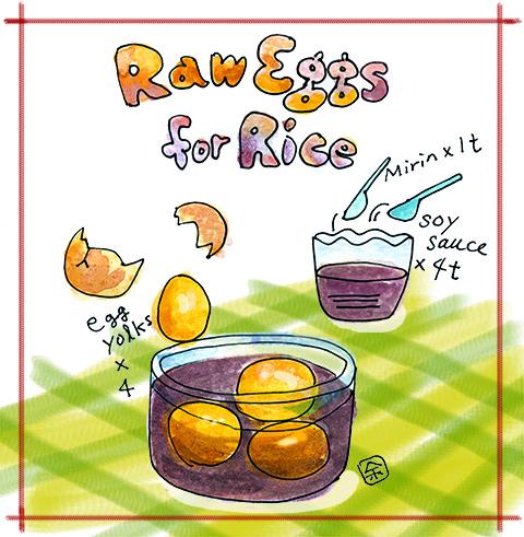 アメリカで生卵を食べるには醤油漬け【イラスト】
