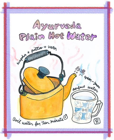 アユルベーダ式白湯の作り方イラスト