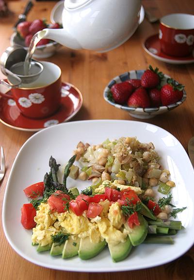 ヒヨコ豆とアボカド・ブランチの食卓