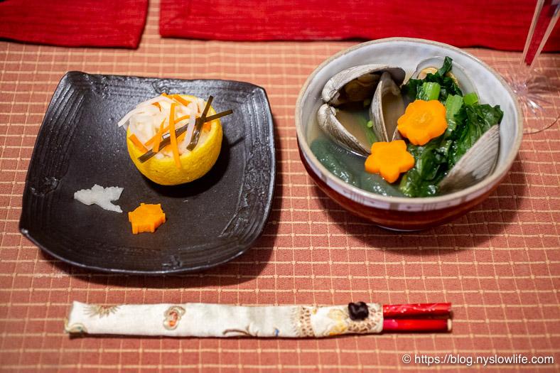お正月料理:黄かぼすに紅白なますとお雑煮