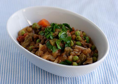 レンズ豆とポテトのサンドライトマト・シチュー
