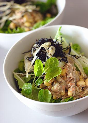 ヒジキ酢大豆レンズ豆サラダ