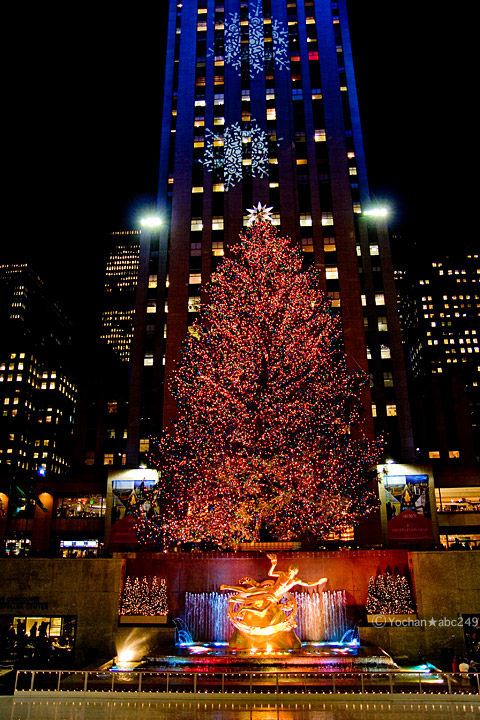 ロックフェラーセンターのクリスマスツリー点灯式後