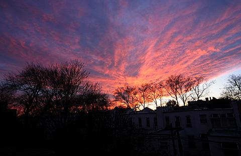 サーモンピンクの夕焼け