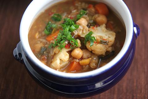 ヒヨコ豆とキノコリゾット・スープ