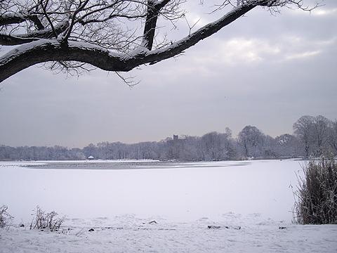 雪の公園・湖