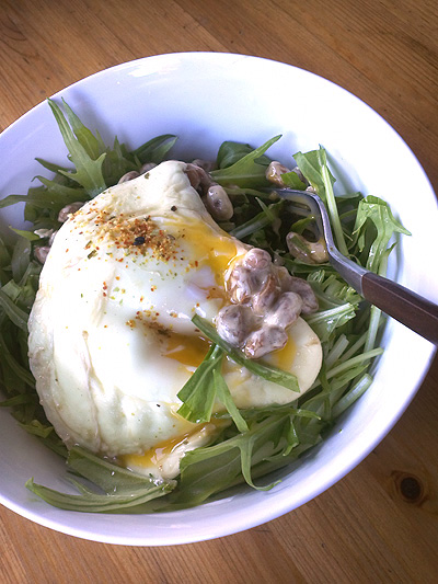 納豆ミズナ丼卵の黄身とろ~り