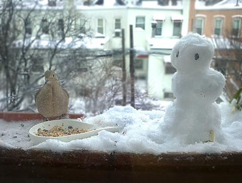 ニューヨーク豪雪ニモ後の朝の風景:モーニングドーブと雪だるま