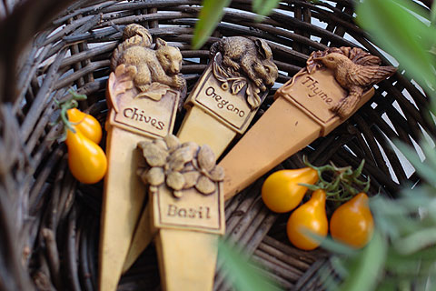 Garden Stakes with Yellow Pear Tomatoes