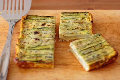 ズッキーニのせ豆乳のポテト&ベーコン・オムレツ