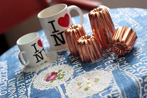 カヌレ型、押し花のコースター、エスプレッソなI love NYマグカップ