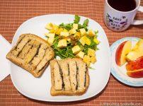 松風焼きサンドイッチと出汁昆布ドレッシング・サラダ