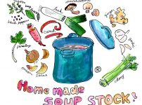 自家製スープストック、野菜出汁の作り方【イラスト】